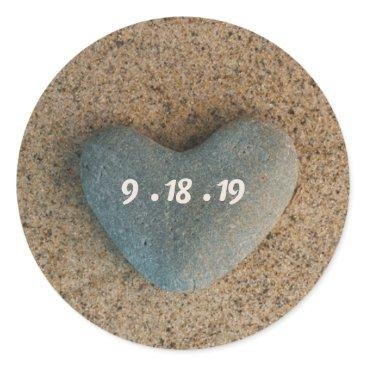 Beach Themed Heart Stone on Beach w/ Wedding Date in Pink Blush Classic Round Sticker
