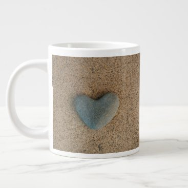 "Beach Themed Heart Stone on Beach with ""XOXOX"" in Beach Orange Large Coffee Mug"