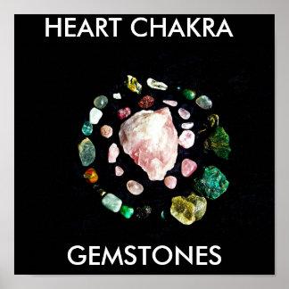heart stones, HEART CHAKRA , GEMSTONES Poster