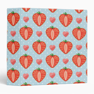 Heart Strawberries with Polka Dots And Hearts 3 Ring Binder