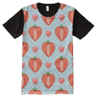 Heart Strawberries with Polka Dots And Hearts All-Over-Print T-Shirt