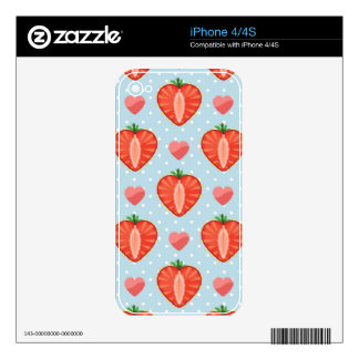 Heart Strawberries with Polka Dots And Hearts Skin For The iPhone 4S