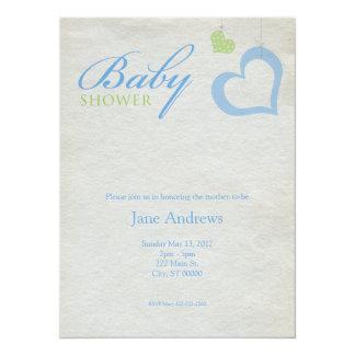 Heart Strings Baby Shower - Blue & Green Card