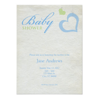 "Heart Strings Baby Shower - Blue & Green 5.5"" X 7.5"" Invitation Card"