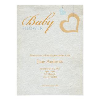 "Heart Strings Baby Shower - Orange & Blue 5.5"" X 7.5"" Invitation Card"