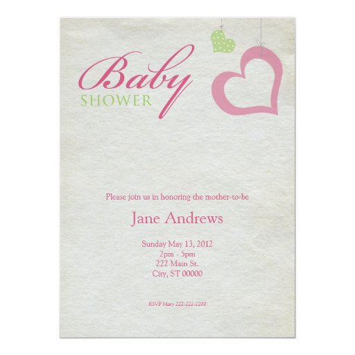 Heart Strings Baby Shower - Pink & Green Personalized Announcements