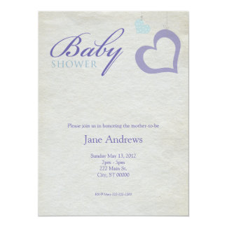 "Heart Strings Baby Shower - Purple & Blue 5.5"" X 7.5"" Invitation Card"