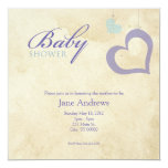 Heart Strings Baby Shower - Purple & Blue Personalized Invitation
