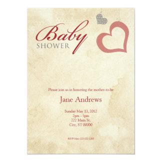 Heart Strings Baby Shower - Red & Black Card