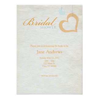 Heart Strings Bridal Shower - Orange & Blue Card