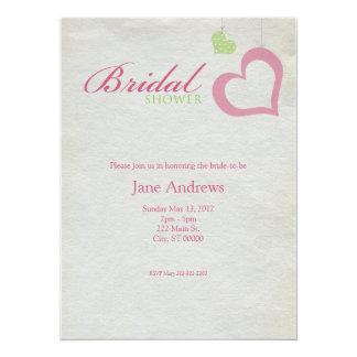 Heart Strings Bridal Shower - Pink & Green Card