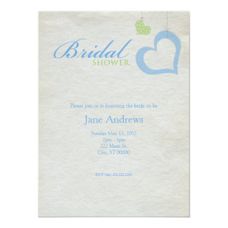 Heart Strings Bridaly Shower - Blue & Green Card
