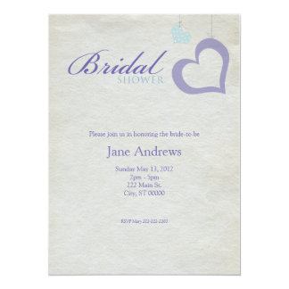 Heart Strings Bridaly Shower - Purple & Blue Card