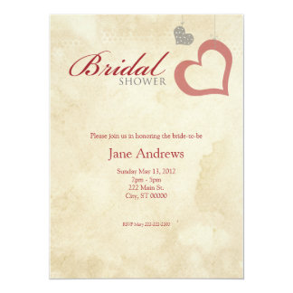 Heart Strings Bridaly Shower - Red & Black Card