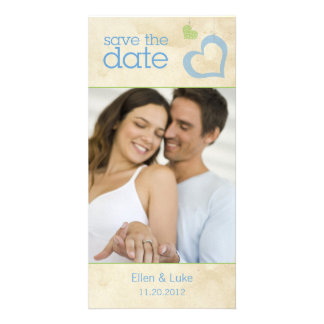 Heart Strings Save The Date - Blue & Green Card