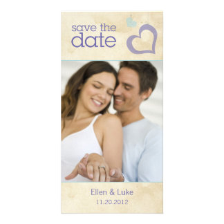Heart Strings Save The Date - Blue & Purple Card