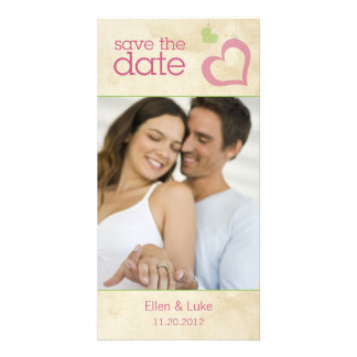 Heart Strings Save The Date - Green & Pink Card