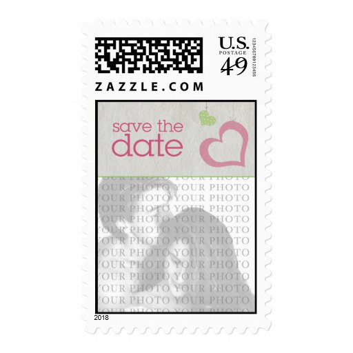 Heart Strings Save The Date - Pink & Green Postage Stamps