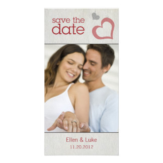 Heart Strings Save The Date - Red & Black Card