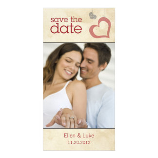 Heart Strings Save The Date - Red & Black Photo Cards