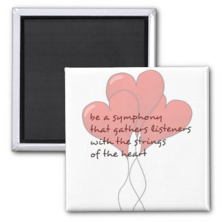 Heart Strings- Soulful Poetry 2 Inch Square Magnet