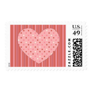 Heart Stripes and Dots Postage Stamp