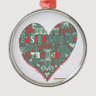 Heart - stronger metal ornament