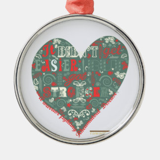 Heart - stronger round metal christmas ornament