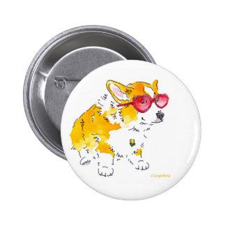 Heart Sunglasses Corgi Button