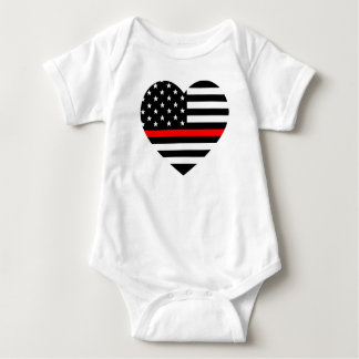 Heart Support Firefighter Flag Baby Bodysuit