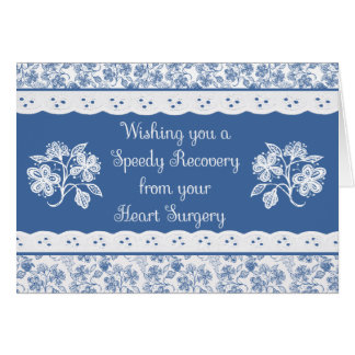 Heart Surgery Get Well Floral Faux Lace Card