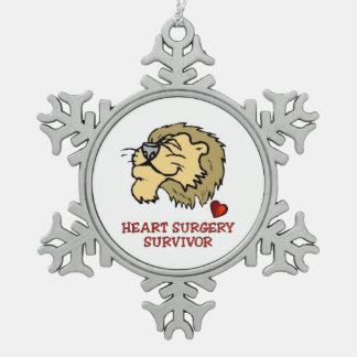 Heart surgery Survivor Lion Snowflake Pewter Christmas Ornament