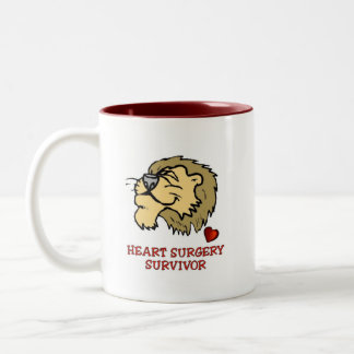 Heart Surgery Survivor Lion Two-Tone Coffee Mug