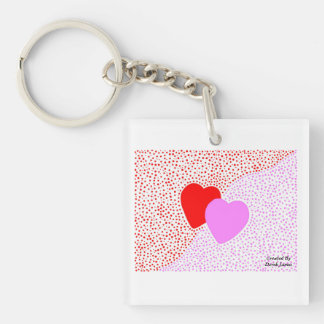 Heart Surprise Key Chain With White Border