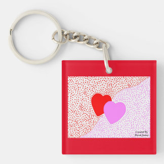 Heart Surprise Square Key Chain With Red Border