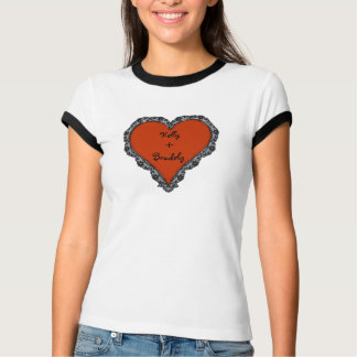 Heart Surrounded by Black Lace and Couples Text T-Shirt