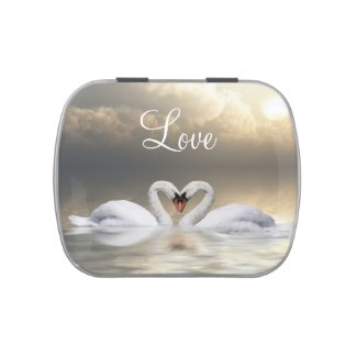 Heart Swans Jelly Belly Candy Tin