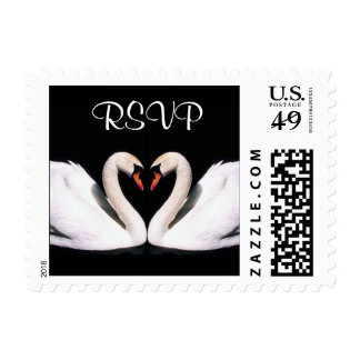 Heart Swans RSVP Stamps