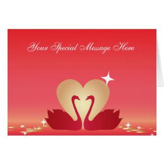 Heart Swans Silhouette Card