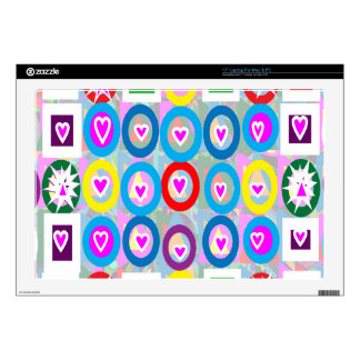"""Heart SweetHeart Pink Collection gifts Decals For 17"""" Laptops"""