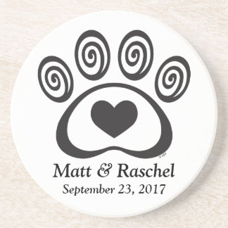 Heart & Swirl Paw Print Stone Coaster Wedding Gift