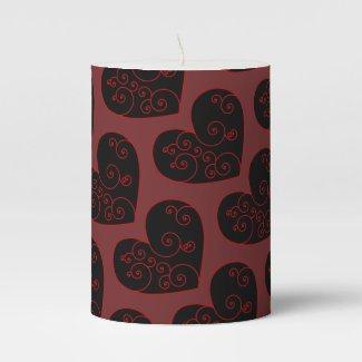Heart Swirl Pillar Candle
