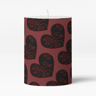 Heart Swirl Pillar Candle