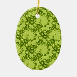 Heart Swirls Garden Green-OVAL ORNAMENT