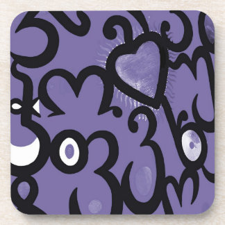 Heart & Swirls Pattern in Purple,Mauve,Violet and Drink Coaster