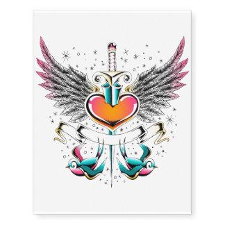 Heart, sword, wings & birds tattoo
