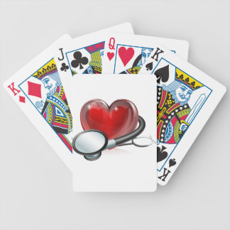 Heart symbol and stethoscope bicycle playing cards