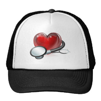 Heart symbol and stethoscope mesh hats