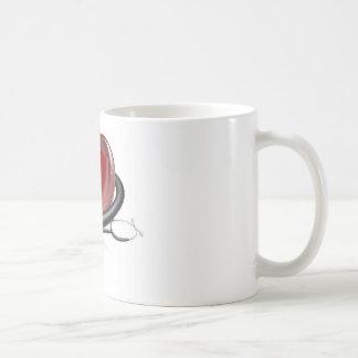 Heart symbol and stethoscope mug