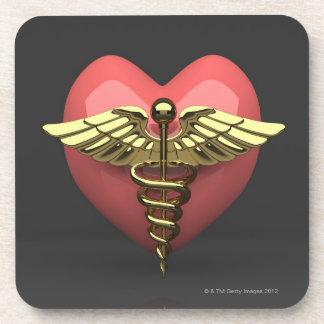 Heart symbol with medical symbol (caduceus) drink coasters